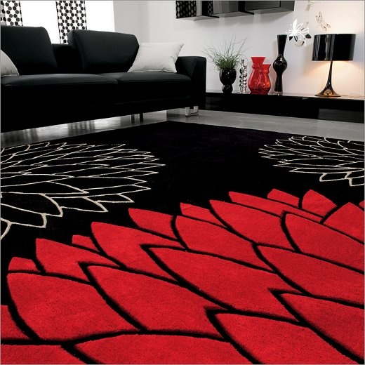 Alege combinatia de culori rosu si negru in designul interior for Red black and silver living room ideas