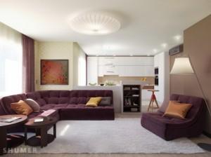 culoarea violet in living