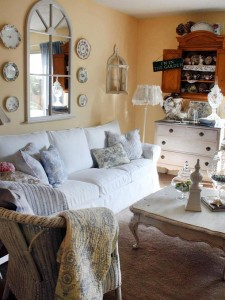 stilul shabby chic in living