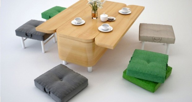 Mobilier functional: canapea si masa
